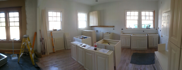 the kitchen remodel in progress