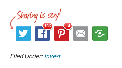 social media shares on investing article
