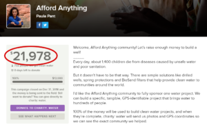 Screenshot of the final $21,978 Afford Anything fundraiser for charity:water